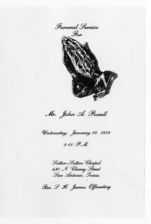 Primary view of object titled '[Funeral Program for John A. Powell, January 29, 1986]'.