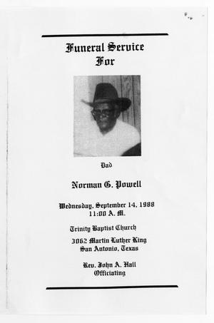 Primary view of object titled '[Funeral Program for Norman G. Powell, September 14, 1988]'.