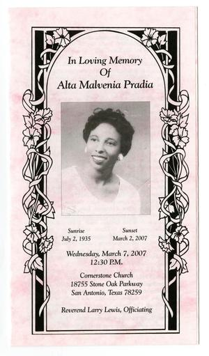 Primary view of object titled '[Funeral Program for Alta Malvenia Pradia, March 7, 2007]'.