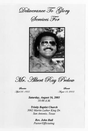 Primary view of object titled '[Funeral Program for Albert Ray Prelow, August 16, 2003]'.