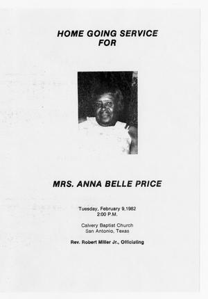 Primary view of object titled '[Funeral Program for Anna Belle Price, February 9, 1982]'.