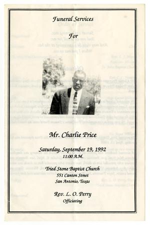 Primary view of object titled '[Funeral Program for Charlie Price, September 19, 1992]'.