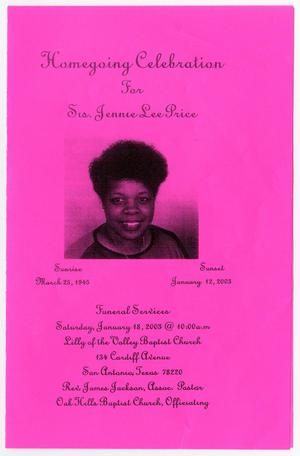 Primary view of object titled '[Funeral Program for Jennie Lee Price, January 18, 2003]'.
