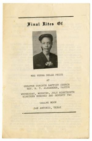 [Funeral Program for Verna Delle Price, July 19, 1972]