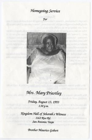 Primary view of object titled '[Funeral Program for Mary Priestley, August 13, 1993]'.