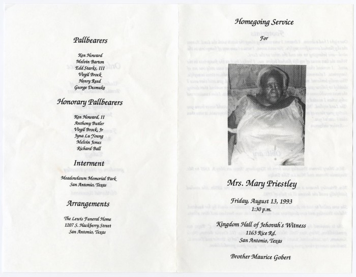 Funeral Program for Mary Priestley, August 13, 1993], Sequence: 3 ...