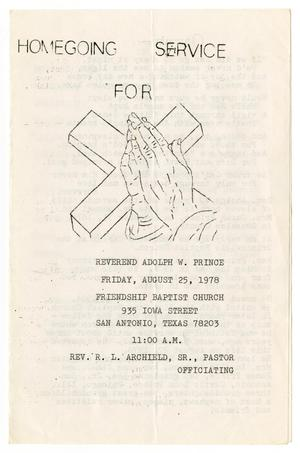 Primary view of object titled '[Funeral Program for Adolph W. Prince, August 25, 1978]'.