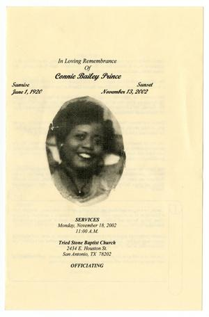 Primary view of object titled '[Funeral Program for Connie Bailey Prince, November 18, 2002]'.
