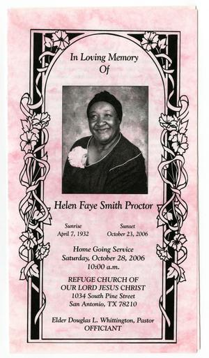 Primary view of object titled '[Funeral Program for Helen Faye Smith Proctor, October 28, 2006]'.