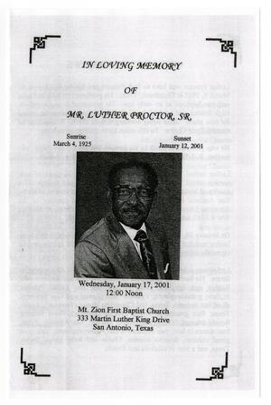 Primary view of object titled '[Funeral Program for Luther Proctor, Sr., January 17, 2001]'.