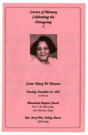 Primary view of object titled '[Funeral Program for Mary W. Proctor, December 21, 1993]'.