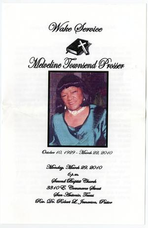 Primary view of object titled '[Funeral Program for Melveline Townsend Prosser, March 29, 2010]'.