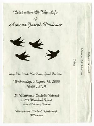 Primary view of object titled '[Funeral Program for Armond Joseph Prudeaux, August 16, 2000]'.