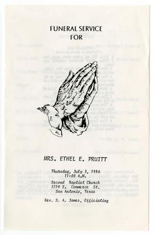 Primary view of object titled '[Funeral Program for Ethel E. Pruitt, July 3, 1986]'.