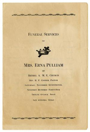 Primary view of object titled '[Funeral Program for Erna Pulliam, November 17, 1945]'.