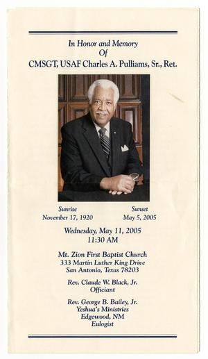 Primary view of object titled '[Funeral Program for Charles A. Pulliams, Sr., May 11, 2005]'.
