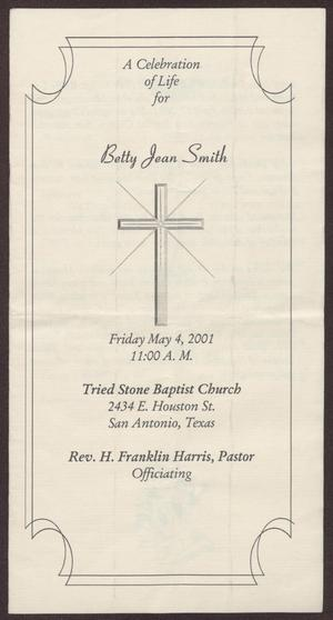 Primary view of object titled '[Funeral Program for Betty Jean Smith, May 4, 2001]'.