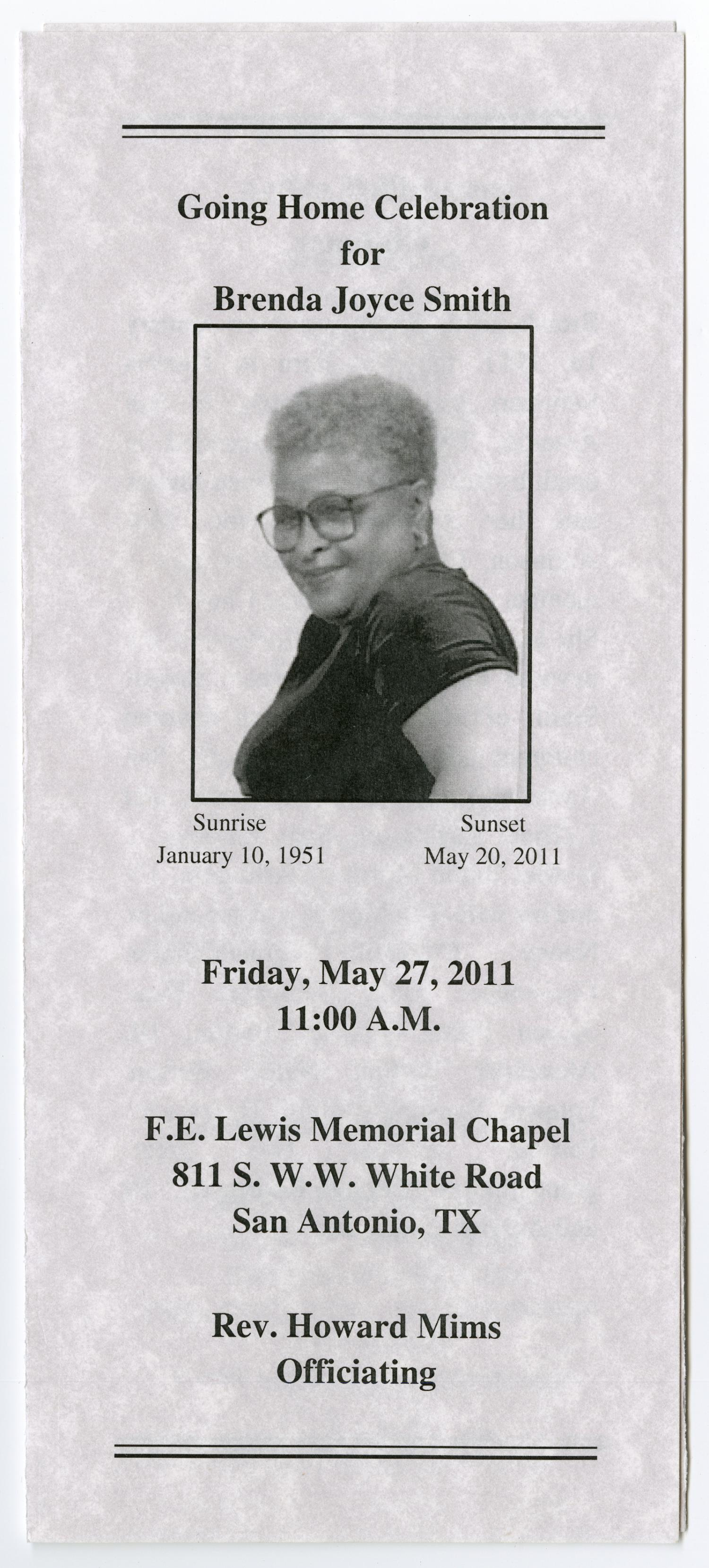 [Funeral Program for Brenda Joyce Smith, May 27, 2011]                                                                                                      [Sequence #]: 1 of 3