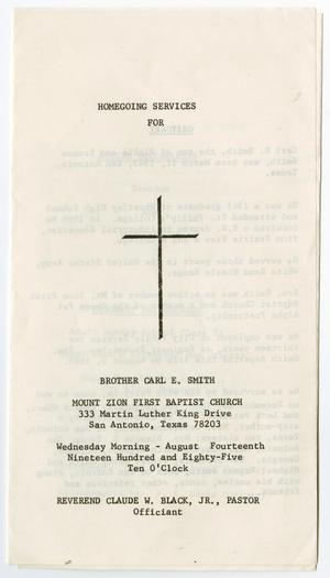 Primary view of object titled '[Funeral Program for Carl E. Smith, August 14, 1985]'.