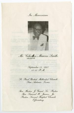 Primary view of object titled '[Funeral Program for Celestus Marcus Smith, September 23, 1987]'.