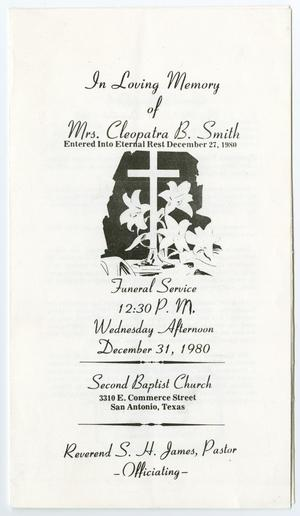 Primary view of object titled '[Funeral Program for Cleopatra B. Smith, December 31, 1980]'.