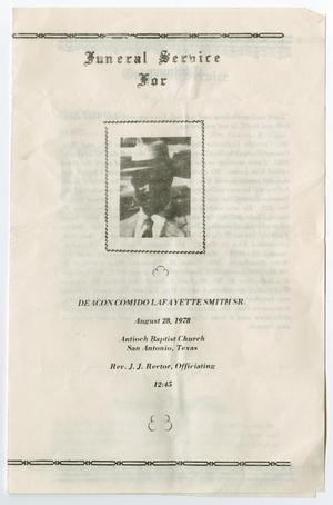 Primary view of object titled '[Funeral Program for Comido Lafeyette Smith, Sr., August 28, 1978]'.