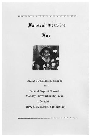 Primary view of object titled '[Funeral Program for Edna Josephine Smith, November 29, 1971]'.