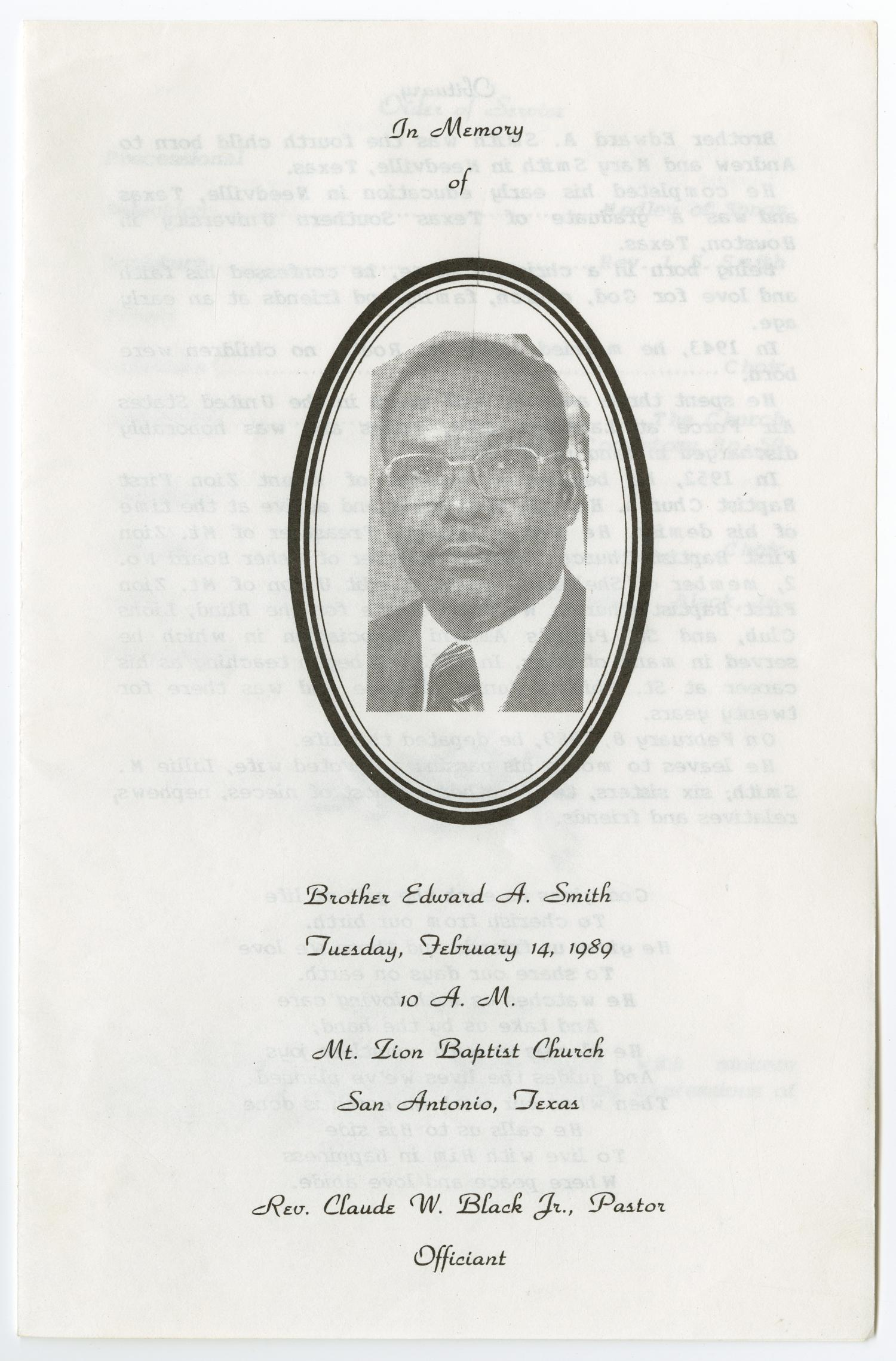 [Funeral Program for Edward A. Smith, February 14, 1989]                                                                                                      [Sequence #]: 1 of 3