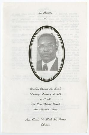 Primary view of object titled '[Funeral Program for Edward A. Smith, February 14, 1989]'.