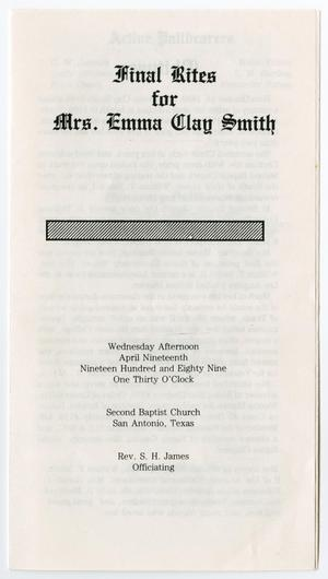 Primary view of object titled '[Funeral Program for Emma Clay Smith, April 19, 1989]'.