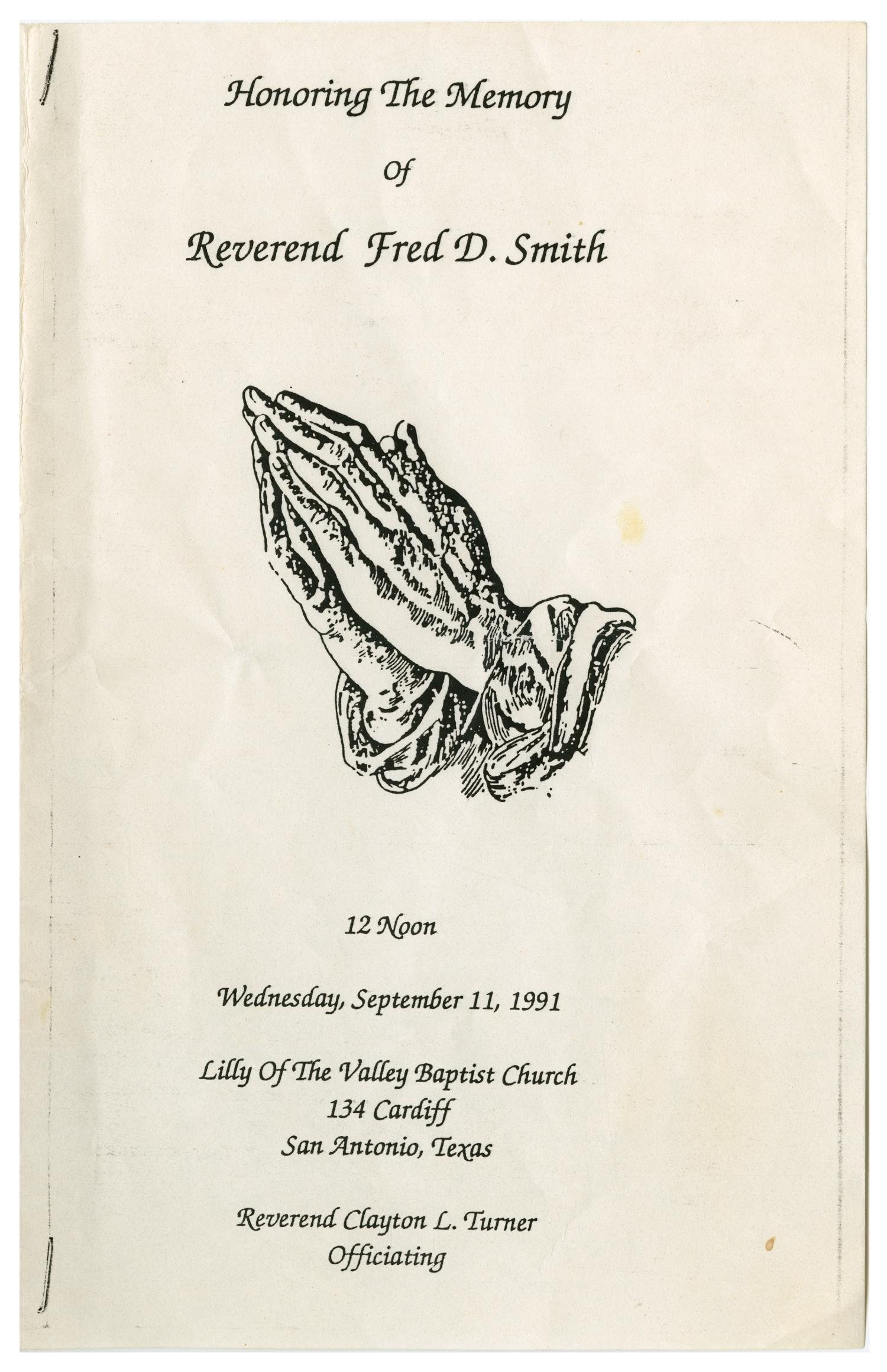 [Funeral Program for Reverend Fred D. Smith, September 11, 1991]                                                                                                      [Sequence #]: 1 of 3