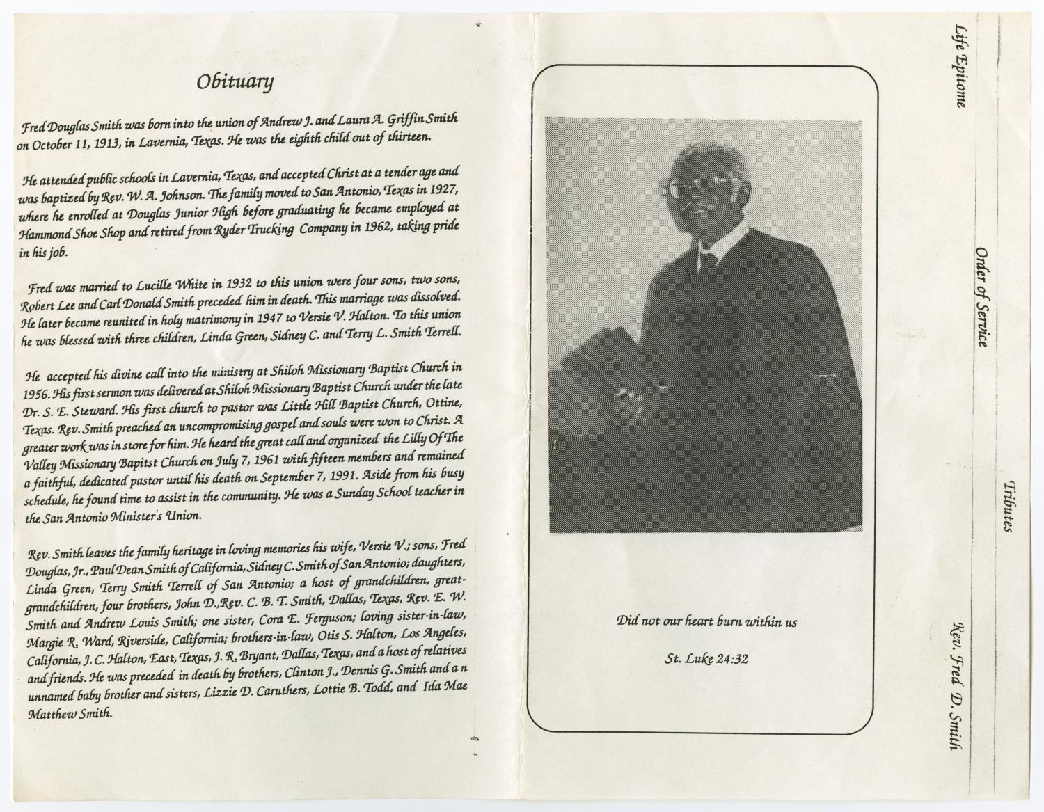 [Funeral Program for Reverend Fred D. Smith, September 11, 1991]                                                                                                      [Sequence #]: 2 of 3