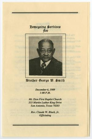 Primary view of object titled '[Funeral Program for George W. Smith, December 6, 1989]'.