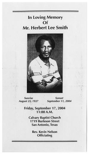 [Funeral Program for Herbert Lee Smith, September 17, 2004]