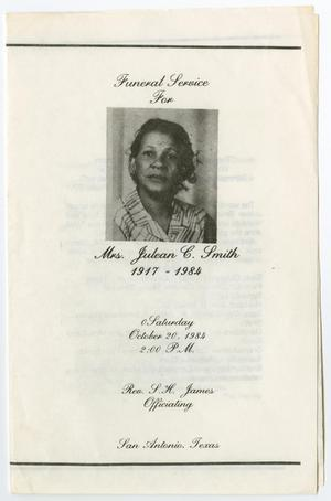 [Funeral Program for Julean C. Smith, October 20, 1984]