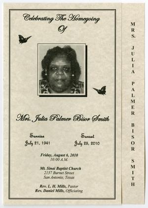Primary view of object titled '[Funeral Program for Julia Palmer Bisor Smith, August 6, 2010]'.