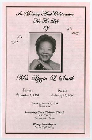 Primary view of object titled '[Funeral Program for Lizzie L. Smith, March 2, 2010]'.