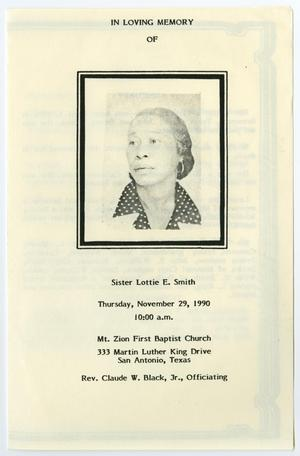Primary view of object titled '[Funeral Program for Lottie E. Smith, November 29, 1990]'.