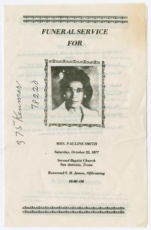 Primary view of object titled '[Funeral Program for Pauline Smith, October 22, 1977]'.
