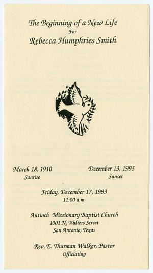 [Funeral Program for Rebecca Humphries Smith, December 17, 1993]