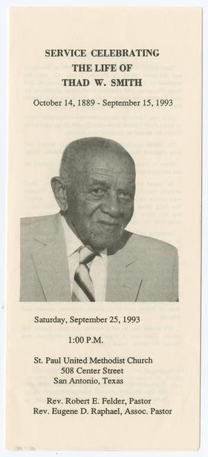 Primary view of object titled '[Funeral Program for Thad W. Smith, September 25, 1993]'.