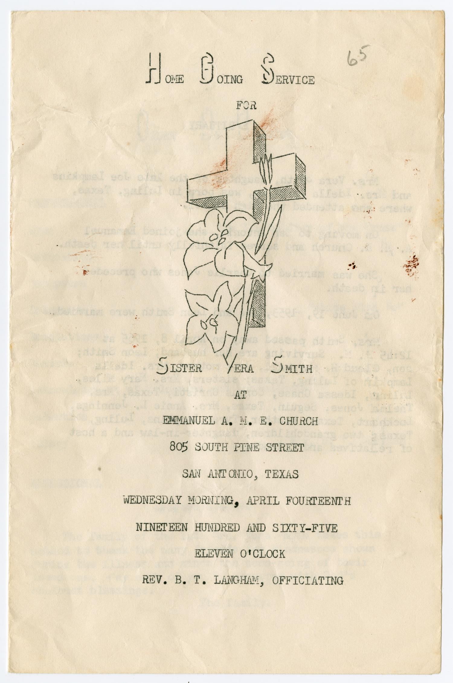 [Funeral Program for Vera Smith, April 14, 1965]                                                                                                      [Sequence #]: 1 of 3