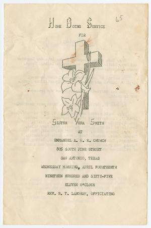 Primary view of object titled '[Funeral Program for Vera Smith, April 14, 1965]'.