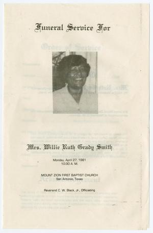 Primary view of object titled '[Funeral Program for Willie Ruth Grady Smith, April 27, 1981]'.