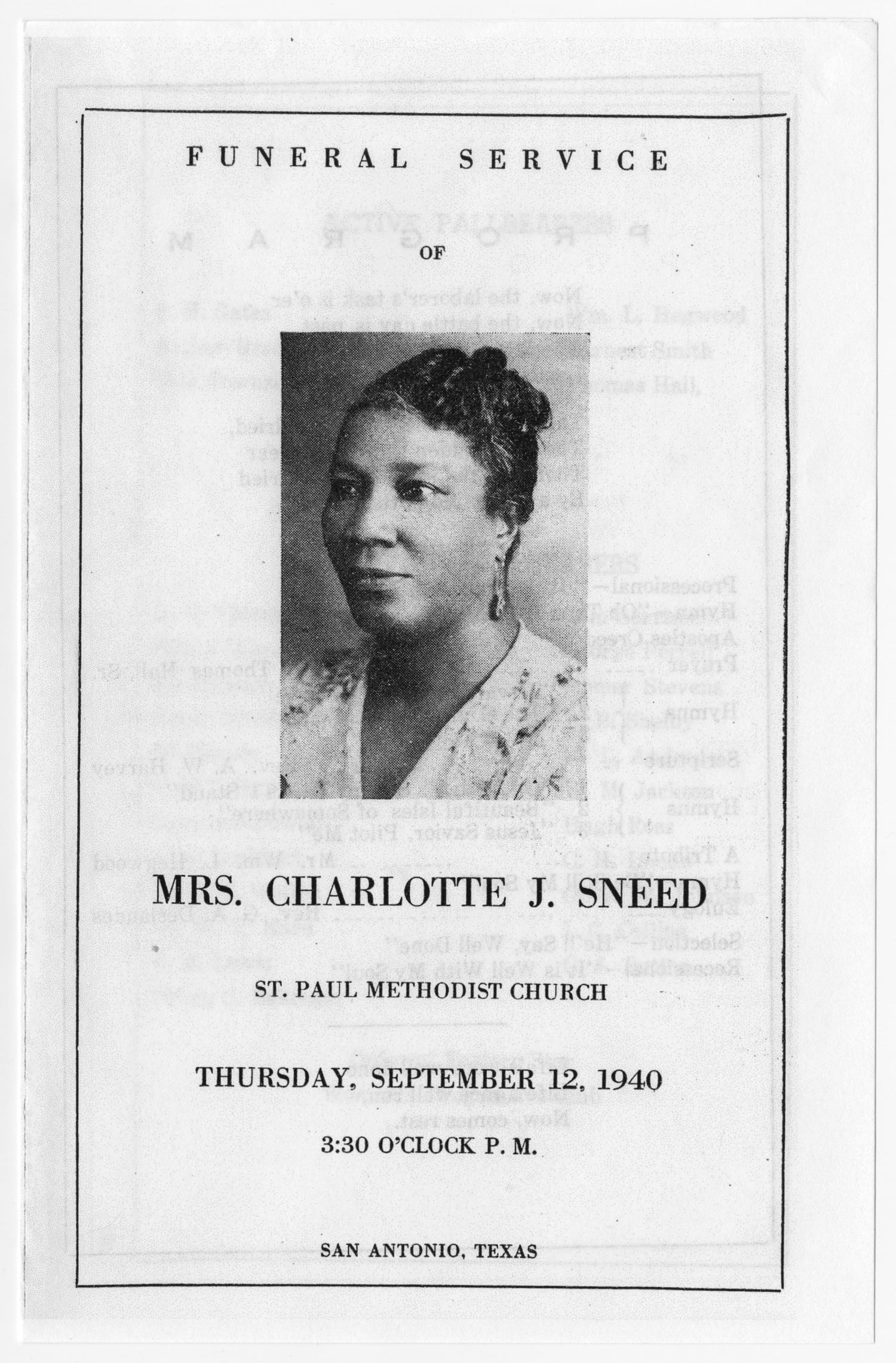 [Funeral Program for Charlotte J. Sneed, September 12, 1940]                                                                                                      [Sequence #]: 1 of 3