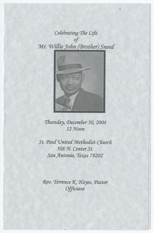 Primary view of object titled '[Funeral Program for Willie John Sneed, December 30, 2004]'.