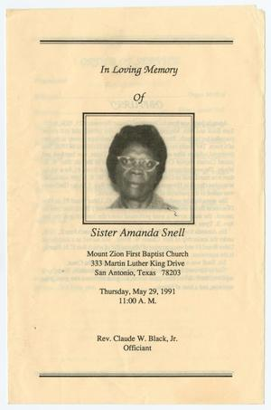 Primary view of object titled '[Funeral Program for Amanda Snell, May 29, 1991]'.