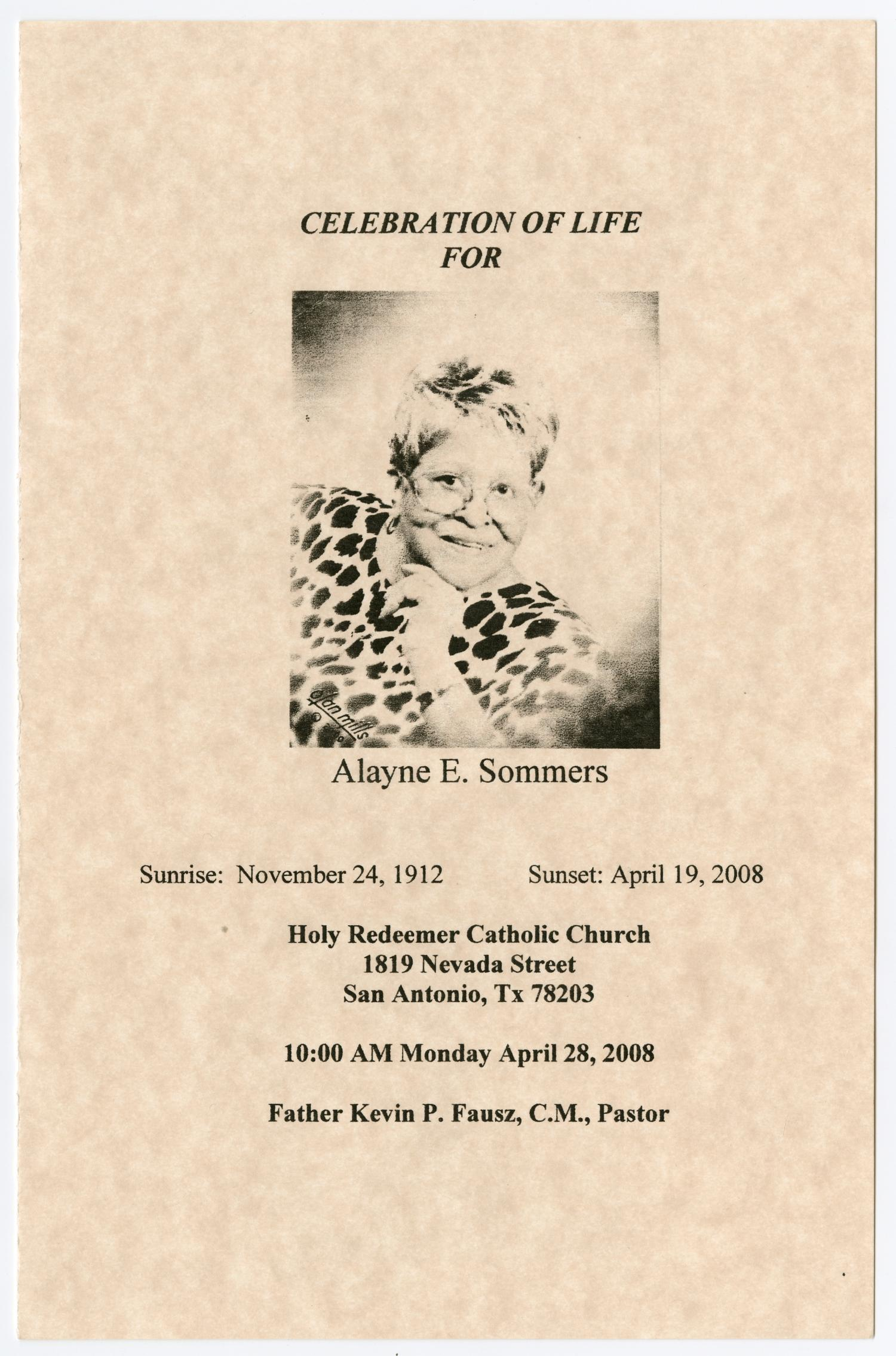 [Funeral Program for Alayne E. Sommers, April 28, 2008]                                                                                                      [Sequence #]: 1 of 3