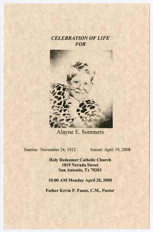 Primary view of object titled '[Funeral Program for Alayne E. Sommers, April 28, 2008]'.