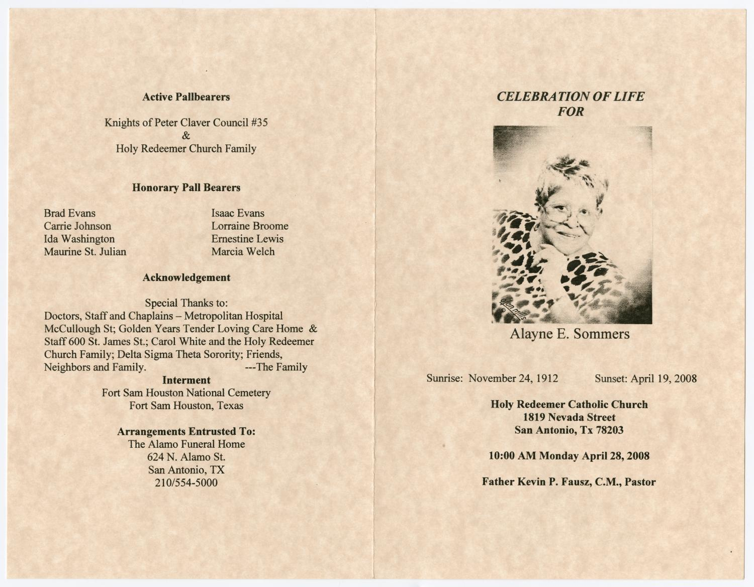 [Funeral Program for Alayne E. Sommers, April 28, 2008]                                                                                                      [Sequence #]: 3 of 3
